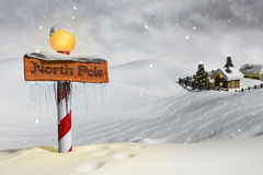 The North Pole. Very high resolution 3D rendering of a 'North Pole' wood sign in the snow Royalty Free Stock Photos