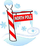 North Pole. Illustration of a north pole sign surrounded by snow and ice Stock Image