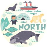 North pole. With animal and  igloo Stock Images