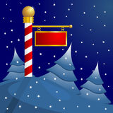 North Pole Christmas. North Pole blank sign to insert your text Royalty Free Stock Photography