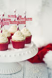 North Pole cupcakes. On a cakestand Royalty Free Stock Photos