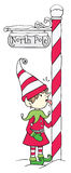 North Pole Elf. Illustration of an elf with his tongue stuck to the North Pole Stock Photos