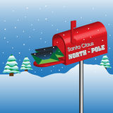 North Pole mailbox. Colorful illustration with fir trees covered by snow, and colorful letters arriving in Santa's mailbox at the North Pole Royalty Free Stock Photography