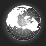 North Pole map in black and white. North Pole map. Europe, Greenland, Asia, America, Russia. Earth globe. Worldmap. Elements of this image furnished by NASA Royalty Free Stock Photo
