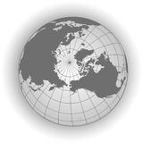 North Pole map in gray tones Stock Photos