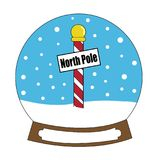 North Pole Merry Christmas Snowglobe Stock Image