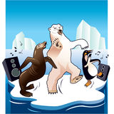 North pole party. Wildlife having party at north pole Stock Photo