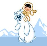 North Pole polar bear Eskimo boy Royalty Free Stock Photography