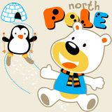 North pole. Polar bear and penguin live in the north pole, vector cartoon. EPS 10 Stock Photos