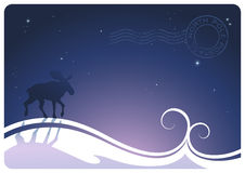 North pole postage. Stylized winter-landscape with snowdrift and moose Stock Images