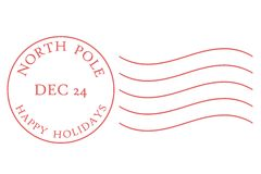 North Pole Postmark. In muted red dated December 24 Stock Images