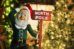 North Pole residence of Santa Claus. Picture of a dwarf  with a tag North Pole Stock Images