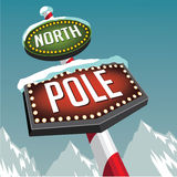 North Pole retro marquee sign with snowy glaciers Royalty Free Stock Photos