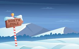 North pole road sign. Snowy background with snow trees night woods wonderland winter holidays vector cartoon. Illustration. North pole road snow, christmas stock illustration