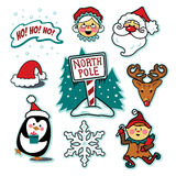 North pole Santa and Mrs. Claus illustration set Stock Photo