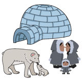 North pole. Set of inhabitants of the north pole with a polar bear family and an eskimo family Royalty Free Stock Image