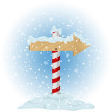 North pole sign. With the falling snow, illustration Stock Photos