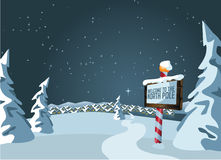 North Pole sign with snowy background Stock Images