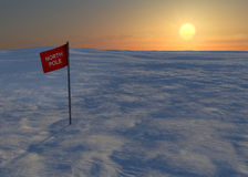 North Pole snow and ice, flag Stock Photo