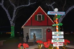 North Pole Village: Christmas Lights at John Dam Plaza brighten holidays. Hapo Credit Union Festival of Lights, at John Dam Plaza in Richland, Washington draws stock photography