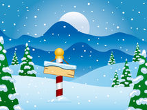 North Pole Winter Scene with Snow. The North Pole at Christmas Time Vector Illustration
