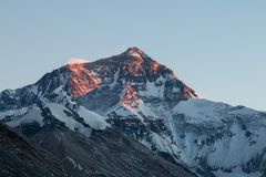 North ridge of Mount Everest at dusk, viewed from base camp on the Tibet side. North ridge of Mount Everest at dusk, viewed from base camp on the Tibet north royalty free stock photo