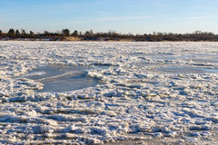 North River covered with ice Stock Image