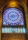 The North Rose stained-glass window in Notre Dame de Paris Royalty Free Stock Photography