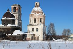 Destroyed old churches in a village in the North of Russia.  In the North of Russia there are destroyed, abandoned churches.There. In the North of Russia there Royalty Free Stock Image
