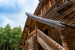 North russian style entrance. Old north russian style entrance  roof ornament Royalty Free Stock Image