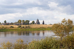 North Russian village on the river Royalty Free Stock Photo
