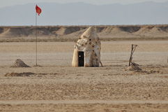 North Sahara, hut on the desert Royalty Free Stock Images