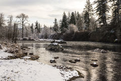 North Santiam river in winter. Oregon stock photography