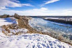 North Saskatchewan river valley in winter season. North Saskatchewan river valley natural area south of Fort Edmonton bridge, in the golden light of evening royalty free stock photo