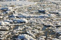 North saskatchewan river. Spring view of the north saskatchewan river with melting ice, edmonton, alberta, canada stock photos