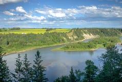North Saskatchewan River bank. Alberta rural landscape with flowering canola field and north Saskatchewan river bank stock images