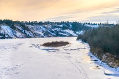 North Saskatchewan river bent, Edmonton. North Saskatchewan river bent in the city of Edmonton in winter time stock image
