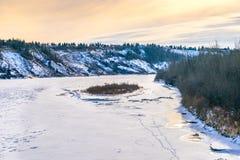 North Saskatchewan river bent, Edmonton. North Saskatchewan river bent in the city of Edmonton in winter time Stock Image