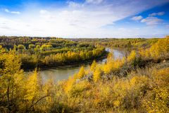 North Saskatchewan river bent near town Devon, Alberta. In fall season rich in yellow colors royalty free stock photo