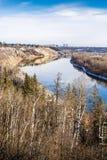 North Saskatchewan river bent near town Devon, Alberta. In fall season rich in yellow colors stock photo