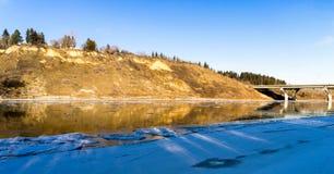 North Saskatchewan river bent near town Devon, Alberta. In fall season rich in yellow colors royalty free stock image