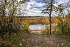 North Saskatchewan river bent near town Devon, Alberta. In fall season rich in yellow colors stock image