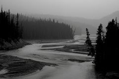 North Saskatchewan River. Landscape featuring the North Saskatchewan River, which flows through Banff National Park royalty free stock photo