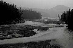 North Saskatchewan River. Landscape featuring the North Saskatchewan River, which flows through Banff National Park stock photography