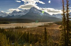 North Saskatchewan River and Mount Wilson at Banff National Park in Alberta, Canada stock photos