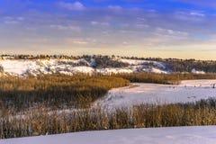 North Saskatchewan river valley in winter season. North Saskatchewan river valley natural area south of Fort Edmonton bridge, in the golden light of evening royalty free stock images