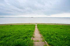North Sea. View of the North Sea Coast from Protective Dike, Netherlands stock photos