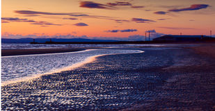 North sea beach of Ayr at sunset Royalty Free Stock Photo