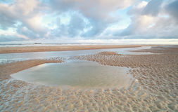 North sea beach at low tide Stock Photos