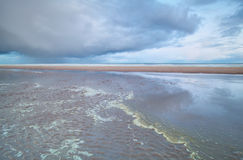 North sea beach at low tide Stock Images